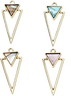 Monrocco 16Pcs 4 Colors Alloy Frame Triangle Enamel Charms Enamel Geometric Charms Pendants for Jewelry Making and Crafting