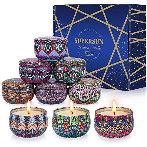 VICBAY 9 Stück Duftkerze Geschenkset für Frauen, Sojawachs Schöne Kerzen Duftkerzen Set mit Angenehmer Duft