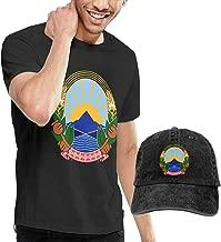 X-JUSEN Men's Coat of Arms of Former Yugoslav Republic of Macedonia National Emblem T-Shirts Top with Cowboy Hat