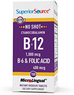 Superior Source No Shot Vitamin B12 Cyanocobalamin (1000 mcg), B6, Folic Acid, Quick Dissolve Sublingual Tablets, 100 Ct, ...