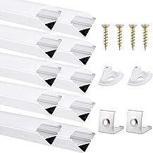 DazSpirit Profiel LED 45°, 10-pack 1M LED aluminium profiel met witte melkachtige afdekking, eindkappen en montageklem voo...