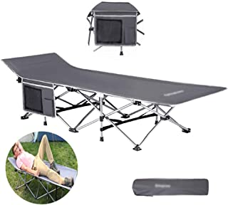 Single Folding Bed Frame,Lunch Bed Simple Bed Super Light Accompanying Bed Outdoor Camping Picnic Home, Dual-Use, Gray