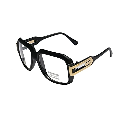 69d12ca67a58 Large Classic Retro Square Frame Clear Lens Glasses with Gold Accent