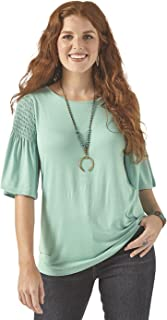 Wrangler Women's 3/4 Sleeves Smocked Shoulder Knit Top Blouse