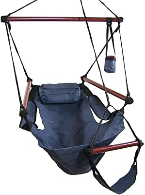 Amazon Com Hammaka Nami Deluxe Hanging Hammock Lounger Chair In Blue Garden Outdoor