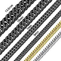 ChainsHouse 7ミリ 45センチ ステンレス ダブル喜平 ネックレス チェーン メンズ ブラック 金属アレルギー アクセサリー