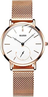 Watches for Women on Sale Waterproof Ultra Thin Black White dial with Seconds Rose Gold Stainless Steel Strap Japan Quartz Watch for Ladies Girl Friend Gift Hot Sale Leisure Simple Casual Dress Wat