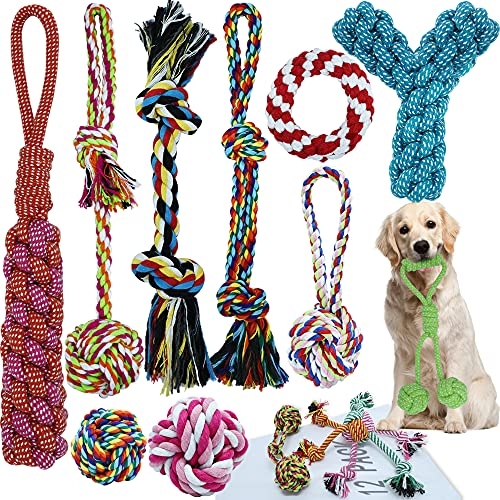 12 Pack Large Dog Chew Toys, Tough Dog Toys for Aggressive Chewers Large Breed, Small Dog Puppy Teething Chew Toys Heavy Duty Dental Dog Rope Toys Prevents Boredom and Relieves Stress
