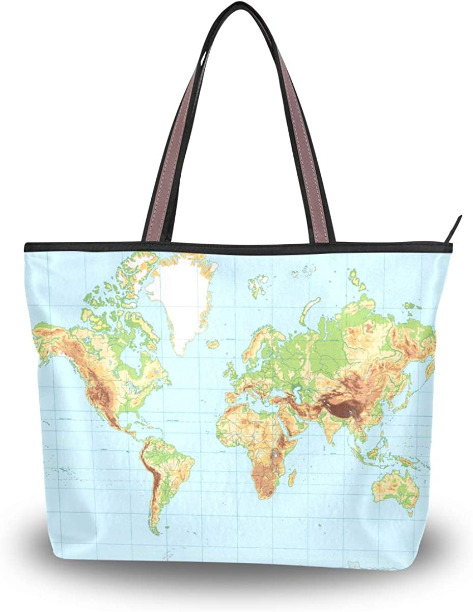 AUUXVA Physical World Sale price Map Handbags for Mesa Mall Women Handle Top Bag Tote