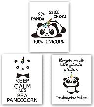 "Homdeco Unicorn Panda Art Print Set of 3 (8""X10"", Motivational Canvas Wall Art, Keep Clam and Be A Pandicorn Printing for Kids Room Decoration, No Frame"