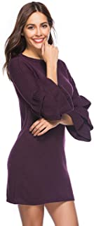 Women Winter Warm Knit Horn Sleeve Crewneck Long Sweater Dress,Purple,S