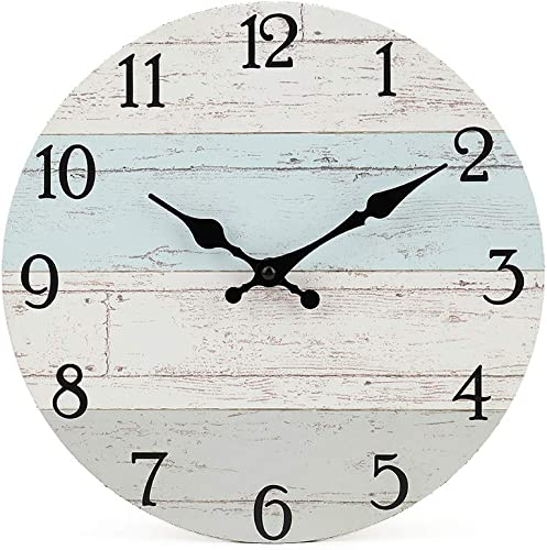 popular Silent Non-Ticking Wooden Decorative Round Wall Clock Quality popular Quartz Battery Operated Wall Clocks Vintage Rustic Country Tuscan Style Wooden Home Decor Round Wall high quality Clock(10 Inch, Coastal Worn Blue ) online