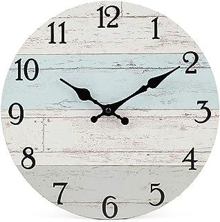 ساعت دیواری چوبی تزئینی ساکت و سافت دیواری ساعت مچی دیواری با کیفیت کوارتز با کیفیت کار می کند ساعت مچی دیواری کشور روستایی سبک توسکی چوبی دکوراسیون منزل ساعت گرد (10 اینچ ، آبی ساحلی ساییده شده)