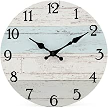 Silent Non-Ticking Wooden Decorative Round Wall Clock Quality Quartz Battery Operated Wall Clocks Vintage Rustic Country T...