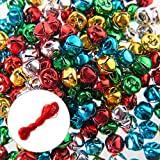 200PCS Jingle Bells,Small Bell Mini Bells Bulk with 25M Red Cords for Christmas, Party & Festival Decorations...
