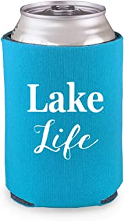 Koozies for Cans Lake Life - Pack of 4 Neoprene Coozies - Great Gifts for Beer, Pontoon Boat Accessories, Boating, Nautical, Beach, Lake House