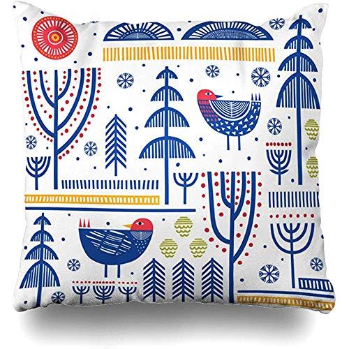 Butlerame Dekokissenbezug Nordic Birds Folk Pattern Skandinavisch Abstrakt Ländlich Finnisch Baum Dänisch Schneeflocke Schwedisch Design Kissenbezug Quadratisch 18x18 Zoll