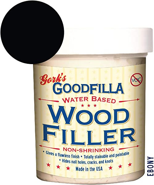 Water Based Wood Grain Filler Ebony 8 Oz By Goodfilla Replace Every Filler Putty Repairs Finishes Patches Paintable Stainable Sandable Quick Drying