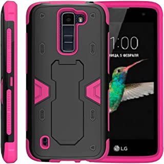 TurtleArmor | Compatible with LG K7 Case (2016) | LG Tribute 5 | LG Treasure [Clip Caliber] High Impact Shockproof Silicone Armor Case Kickstand Holster Belt Clip Pink - Pink