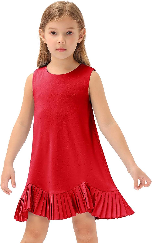 60s 70s Kids Costumes & Clothing Girls & Boys GRACE KARIN Girls Pleated Hem Dress Kids Summer Sleeveless A-Line Birthday Party Dress  AT vintagedancer.com