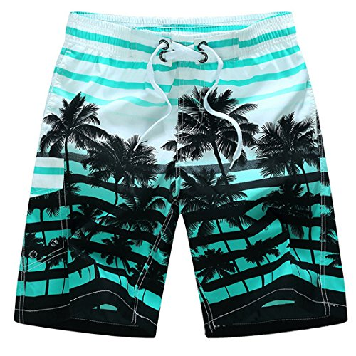Leben hombre funda verano natación desgaste playa tablas de surf pantalones cortos Casual Deporte Trunks - Azul -