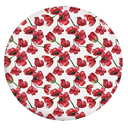 Mantel ajustable de poliéster con bordes elásticos, diseño vintage de flora romántica con diseño de botánica, para mesa redonda de 142 a 152 cm, para comedor, cocina, fiesta