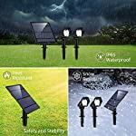 LED Solar Spotlight, Solar Garden Lights Outdoor Waterproof 2 in 1 Landscape Lighting, Angel Adjustable Auto-on/Off Ground Decorative Outside Wall Light for Tree, Yard,Lawn,Pathway,Deck,Patio-2 Pack 8