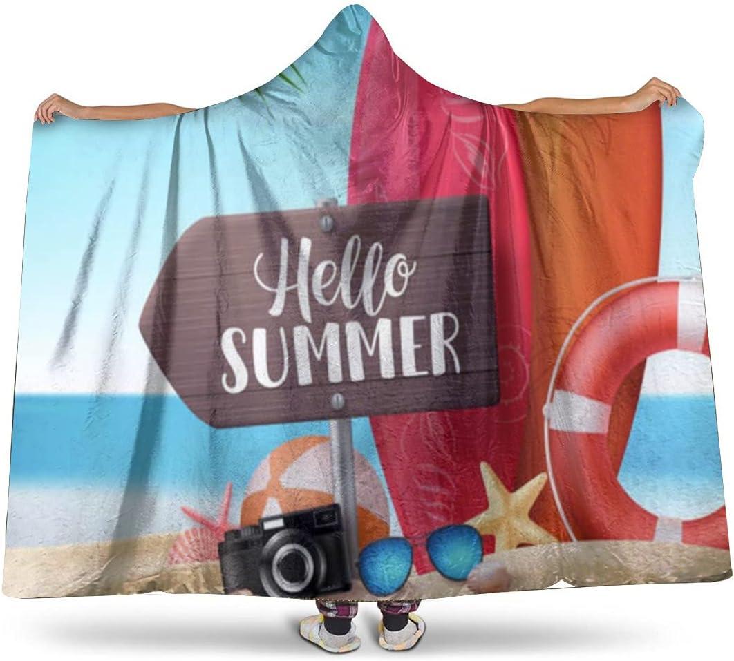Hello Summer Super Bargain Soft Flannel Hooded Max 62% OFF Microfiber Fuzzy Blanket