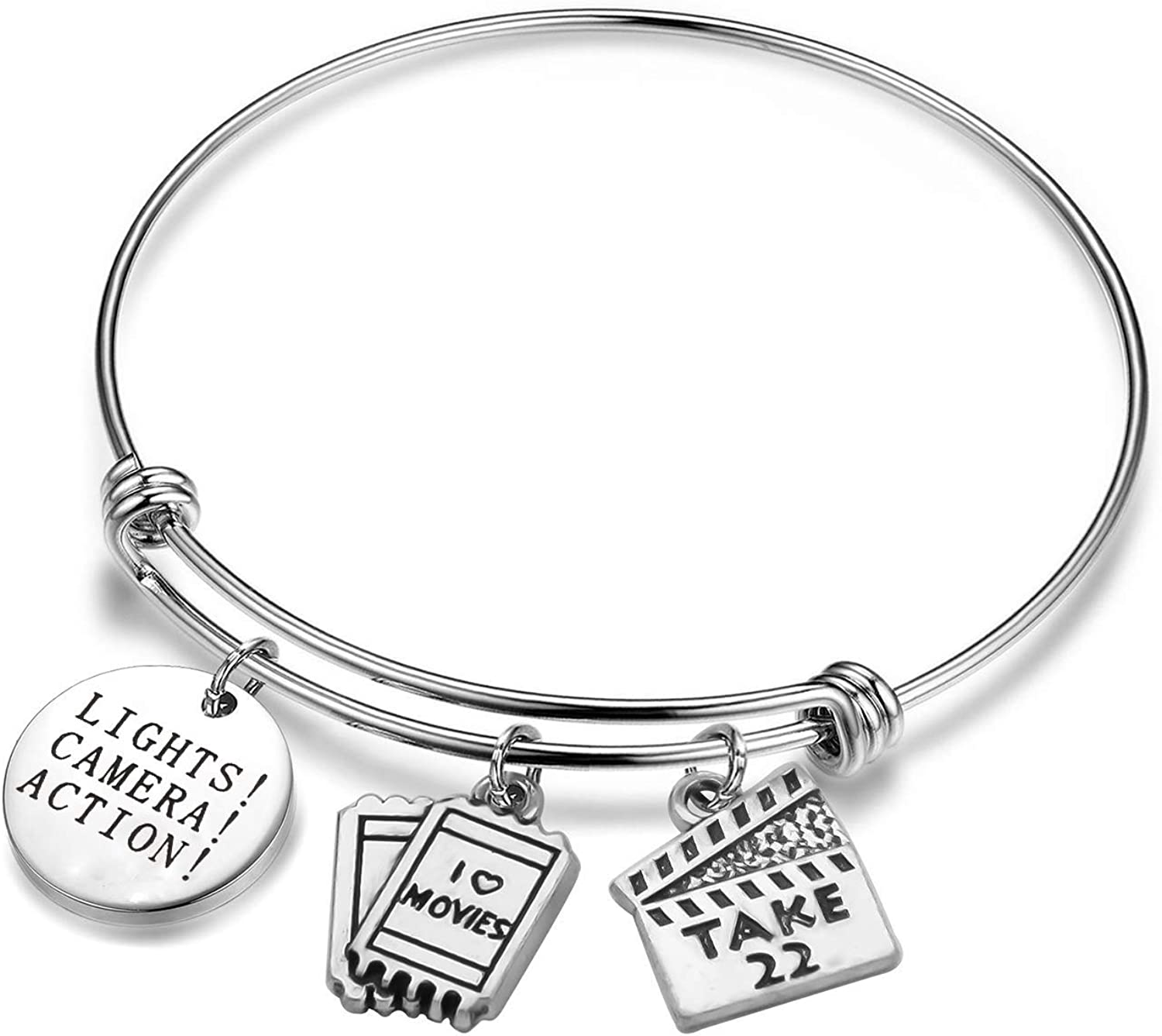 SEIRAA Director's Gift Lights Camera Action Bracelet Actor Gift Clapboard Charm Bangle Movie Jewelry Movie Maker Gift