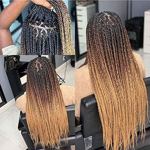 Ombre Box Braids Crochet Hair 24 Inch Medium box braid Pre-Looped Crotchet Box Braids 24Strands Three Tones Heat Resistant Fiber Hair (24 Inch ,Black-DarkBrown-Light Brown)