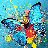 N / A ysyxin Pintura al óleo Niños Mariposa Azul Set de Bricolaje para Pintar por números Kit de Regalo para niños hágalo Usted Mismo pintura-16 x 20 Pulgadas sin Marco