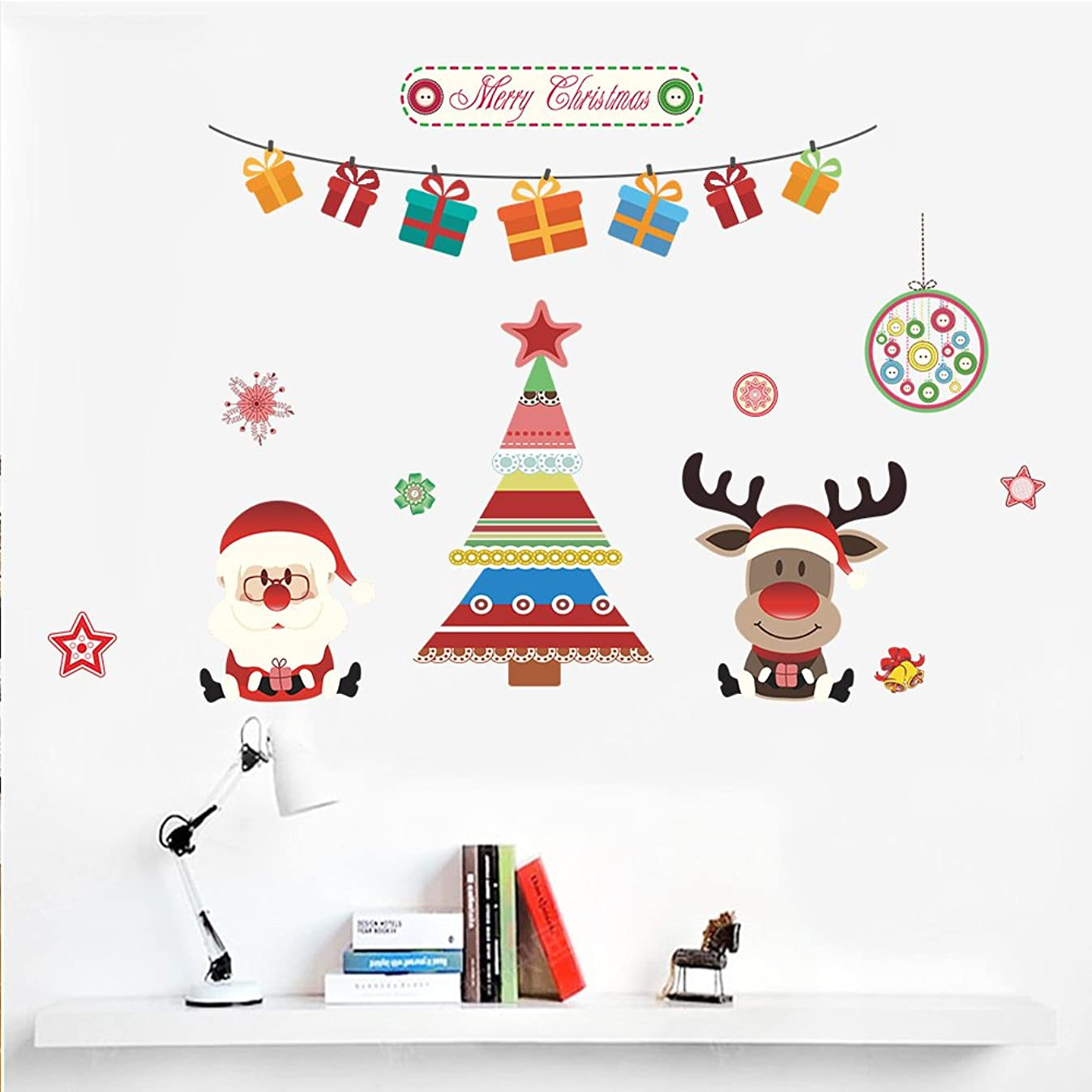 ハウジングご注意封筒Dragon Honor ウォールステッカー クリスマス 装飾 可愛い サンタクロース ヘラジカ 綺麗 クリスマスツリー クリスマス·デコレーション 幼稚園/子供部屋/ベビールームに対応 インテリア 壁紙 シール はがせる おしゃれ 生活防水