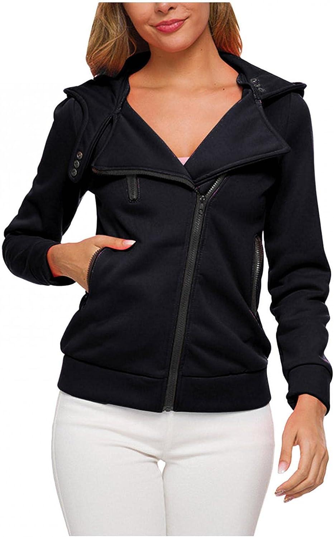 Kcocoo Zip up Hoodie Women Sweatshirt, Ladies Casual Long Sleeve Plush Inner Solid Color Breathable Coat Jacket with Pockets