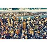 GREAT ART® Mural de pared ? Skyline de la ciudad de Nueva York ? Sunset Manhattan America USA Deco Big Apple NYC Photo Wallpaper muro Foto papel tapiz y decoración (210 x 140 cm)