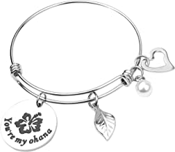 RUNXINTD You are My Ohana Family Jewelry Hibiscus Flower Charm Bracelet Necklace Gift for Mother,Aunt,Grandmother
