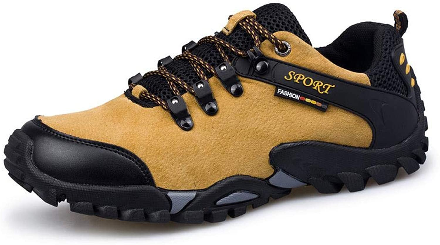 QIKAI Hiking shoes Men's outdoor cross-country fashion hiking shoes autumn and winter non-slip shoes leather material anti-collision Yellow-EU43 265mm UK9