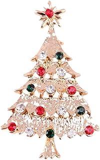 FENICAL Pin de Broche de Diamantes de imitación de Broche de árbol de Navidad de Color Vintage Lindo