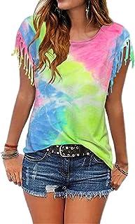Doufine Womens Short-Sleeve Tassel Tops Blouse Tie Dye Crew Neck T-Shirts