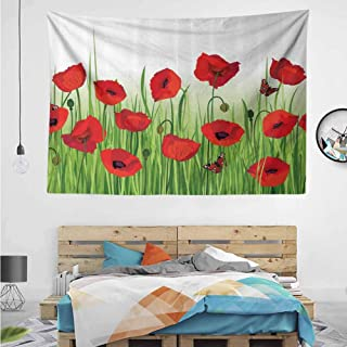 HuaWuChou Butterfly Floral Design Tapestry, Wall Hanging Decor Decoration Beach Blanket Dorm Room Bed Sheets, 80W x 59L Inches