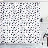 ABAKUHAUS Vögel Duschvorhang, Fliegende Tauben & Tauben, mit 12 Ringe Set Wasserdicht Stielvoll Modern Farbfest & Schimmel Resistent, 175x200 cm, Nachtblau & Aubergine