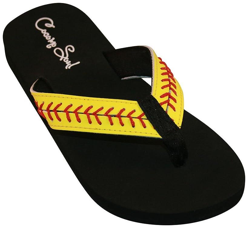 Cocomo Soul Softball Leather Flip Flops Softball Mom Flip Flops Softball Sandals Softball Flip Flops for Women