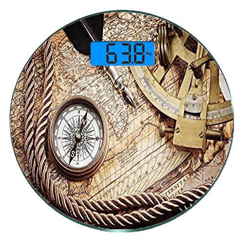 Digitale Präzisionswaage für das Körpergewicht Runde Kompass Ultra dünne ausgeglichenes Glas-Badezimmerwaage-genaue Gewichts-Maße,Weinlese-Navigations-Reise-Thema-Lebensstil-Bild mit Sextant-und Kompa