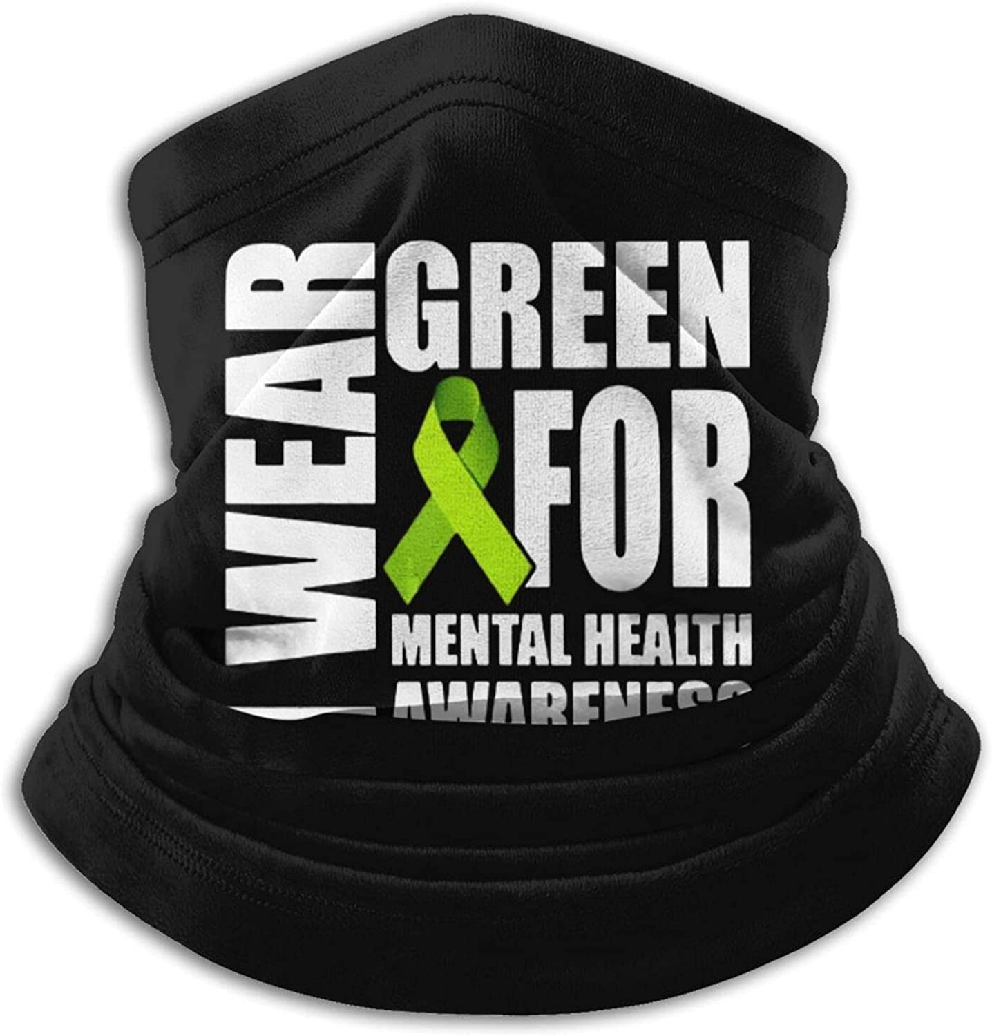 Mental health awareness green ribbon unisex winter neck gaiter face cover mask, windproof balaclava scarf for fishing, running & hiking