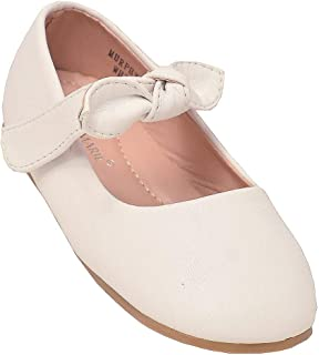 Little Girls White Tie Hook-and-Loop Mary Jane Shoes 5-8 Toddler