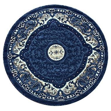 Traditional Round Area Rug Design # 101 Blue (4 Feet x 4 Feet) Round