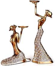 Castiçais de vela, suporte de vela para mesa 2 peças vintage abstrato Lady Candelabro estátua escultura castiçal castiçal ...