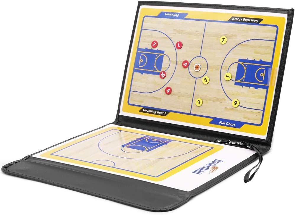 KLOLKUTTA Basketball Coach Board Foldable Magnetic Tactic Coach ClipBoard Coaching Strategy Board Kit with Dry Erase Zipper and Marker Pen