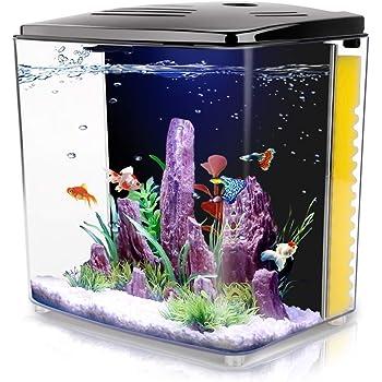Amazon Com 1 4 Gallon Aquarium Starter Kits Aquariums Square Betta Fish Tank With Led Light And Filter Pump Kitchen Dining