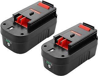 Antrobut - Pack de 2 baterías de litio HPB18 y NiCad actualizadas de 5000 mAh para Black and Decker 18 V HPB18-OPE 244760-00 A1718 FS18FL FSB18 Black Decker 18 V