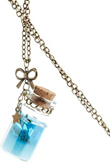 zrshygs Collar de Moda para Hombre mar océano Moda Botella de Cristal Colgante Sirena lágrimas Conchas Estrella Frasco Collar